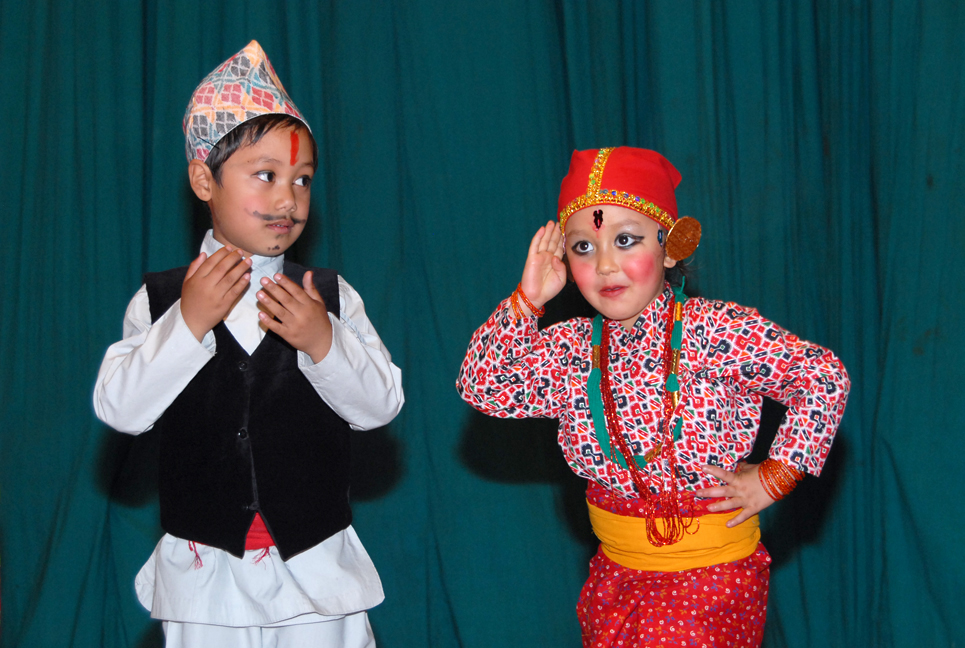 Kids wear Nepali national dress