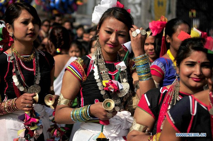 Tharu girls in traditional dress.Tharu girls in traditional dress.