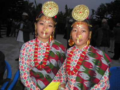 Limbu women in traditional dress.