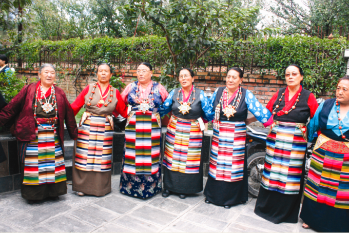 Sherpa women in traditional dress.