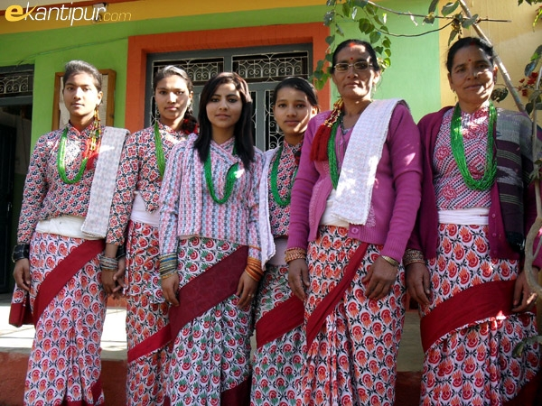 Chhetri women and girls in traditional dress.