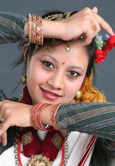 Newari girl in a traditional dress