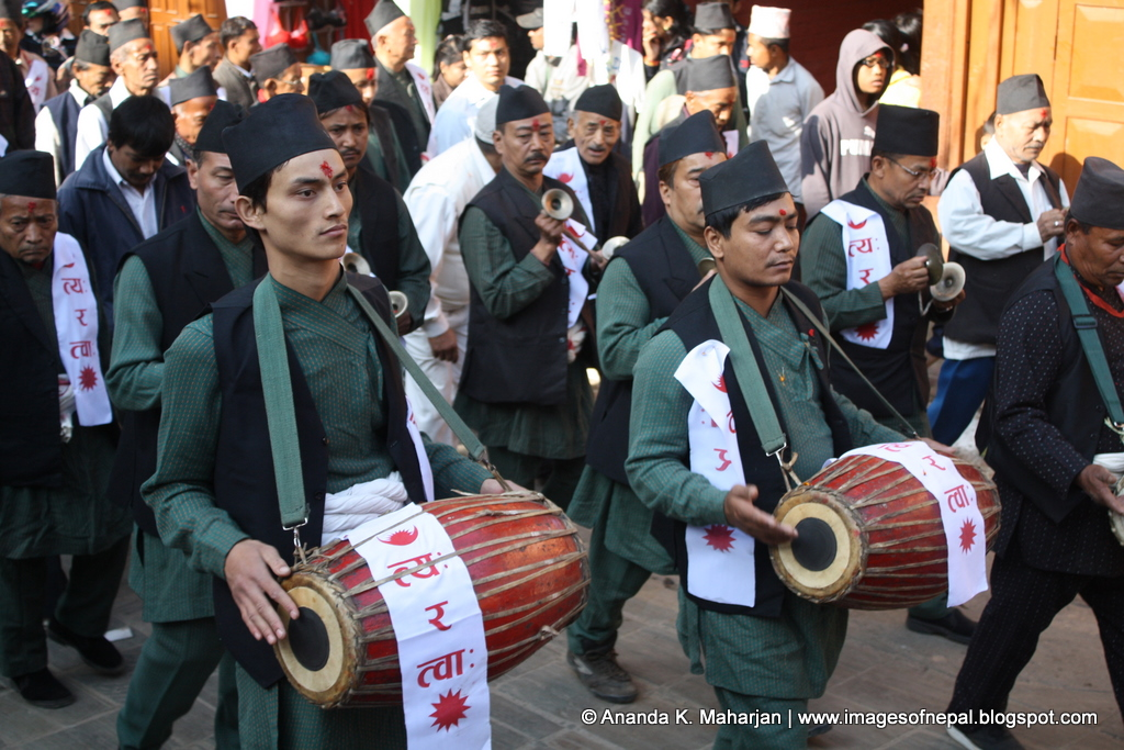 Newars of Kathmandu celebrating traditional festival.