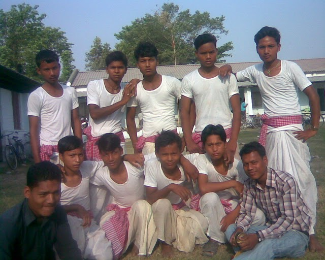 Rajabanshi youths in traditional dress in South of Nepal