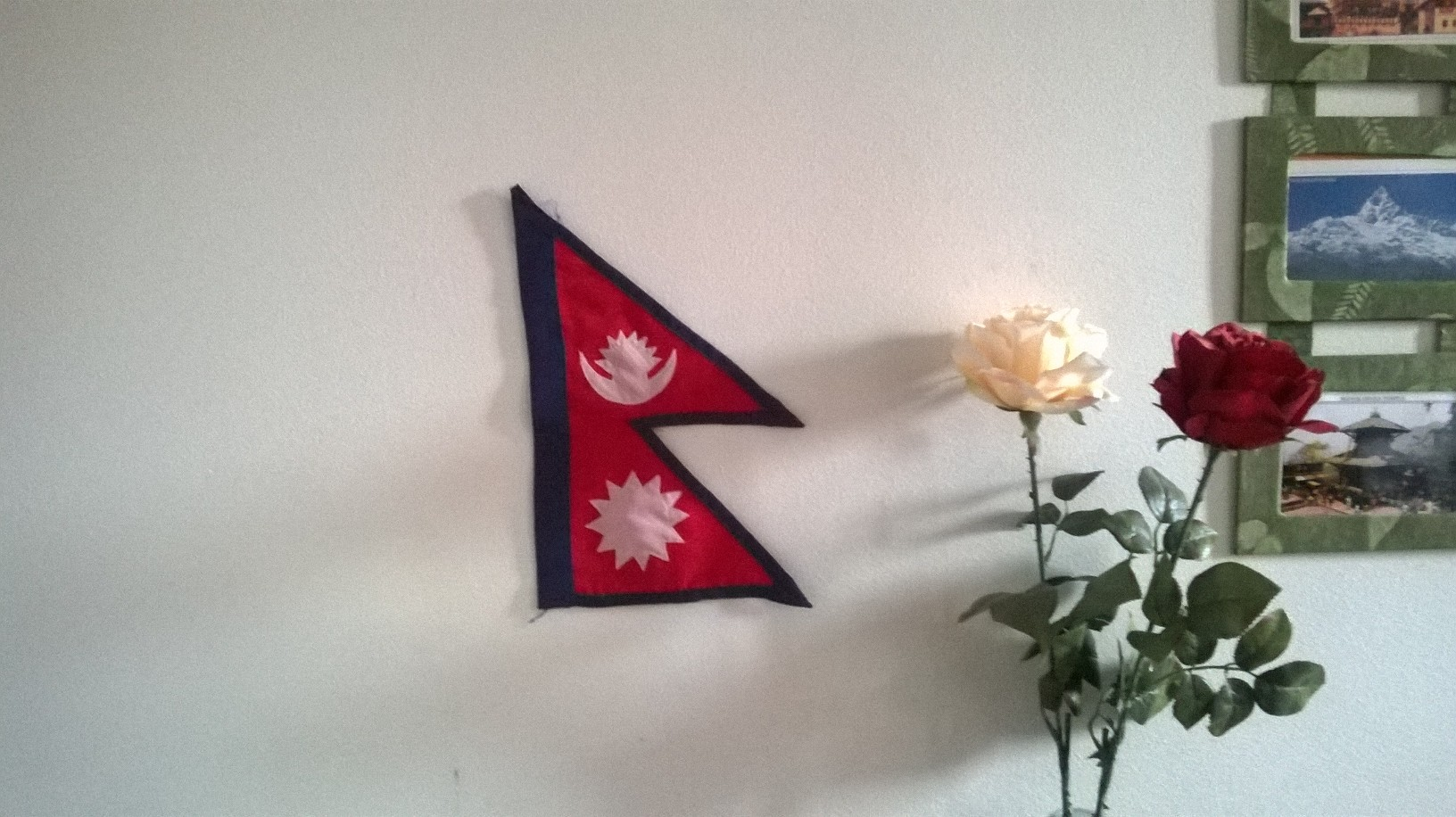 Nepal's national flag is a very common thing you will find on every Nepali home's abroad