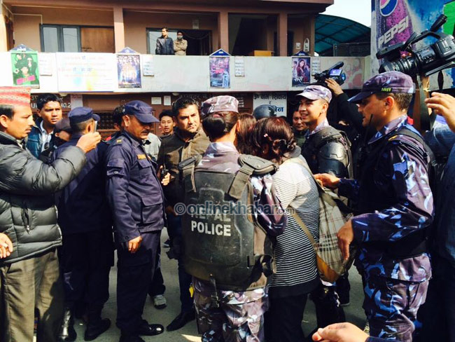 To be serious, what really those police were thinking while arresting students from cinema hall? (Photo onlinekhabar)