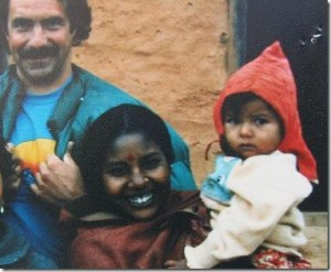 Baby Bindu with Tom Sewell and her relative in Nepal