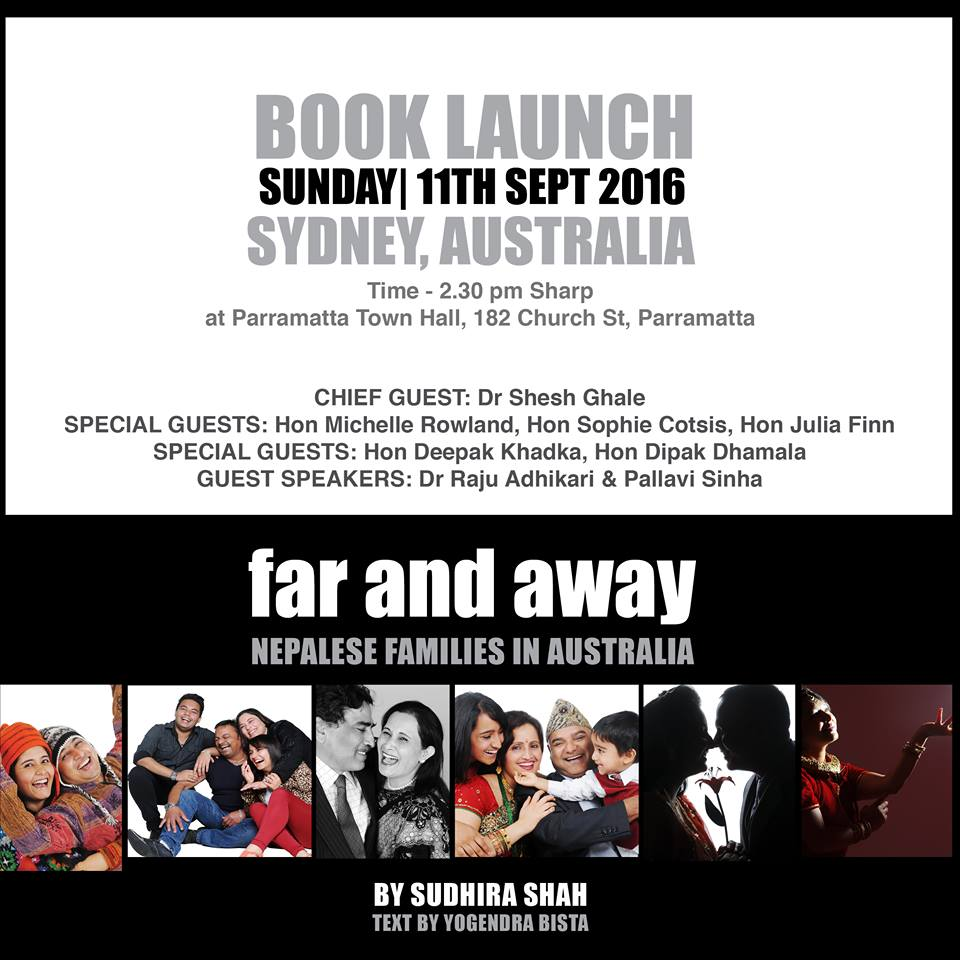 The book 'Far and Away, Nepali Families in Australia' will be launched on 11 September