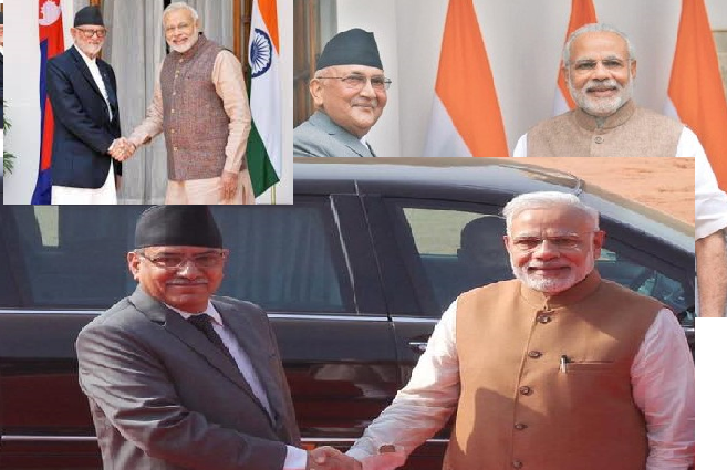 Nepal's Prime Ministers with Indian PM Narendra Modi since 2014