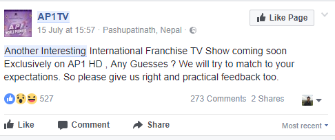 AP1 TV confirming the new international franchise coming to Nepal