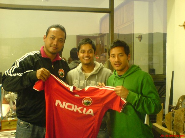 Historic moment when Anil Gurung signed record breaking contract with Indian club Shillong Lajong FC. Very few people know Bikram was the man behind project.