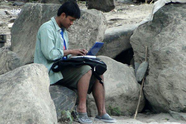 That is the dedication which made Goalnepal. He is trying to break some football news on Goalnepal from remote part of the country :)